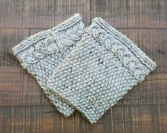 Handmade hand knit gray flecked boot cuffs, gray boot socks, gray boot cuffs, fall clothing, winter clothing, unique knit