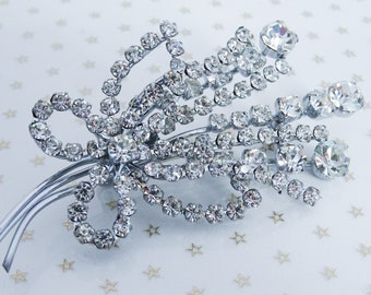 Vintage Large Silver Tone Wire Clear Rhinestone Flower Floral Loop Bouquet Brooch //60s// //Mad Men//