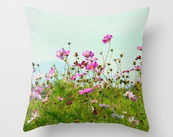 Home Decor, Decorative, Throw Pillow, Pillow, Photography RDelean, Pink, Wildflowers, Blue Sky, Nature,
