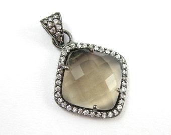 Pave Bezel Gemstone Pendant Smokey Quartz, CZ Pave Oxidized Sterling Silver Frame,Faceted Bezel Gem Diamond Shape-17mm- SKU: 201152-SMQ
