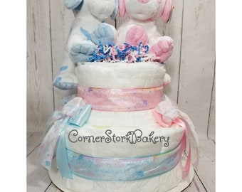 Twin Boy and Girl Baby Shower| Twin Boy and Girl Diaper Cake| His and Her Diaper Cake| Twins Baby Gift| Twins Centerpiece| Twins Diaper Cake