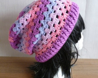 Crochet Hat, slouch hat, granny stitch hat, pink hat, purple hat, ladies hat, women hat, knitted hat, custom hat, made to order