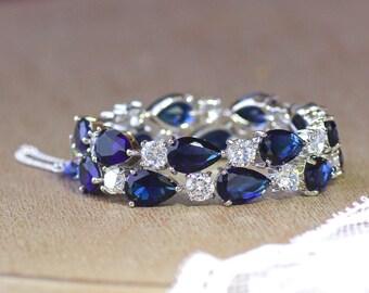 Blue Bracelet,  Sapphire Bracelet, Crystal Bridal Bracelet, Something Blue, Wedding Jewelry, TESSA S