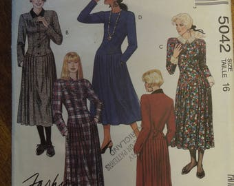 McCalls 5042, size 16, dress with dropped waist, misses, petite, womens, UNCUT sewing pattern, craft supplies