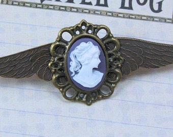 Winged Steampunk Cameo Pin, Airship Pirate Wings, Steampunk Pin, Victorian Winged Pin, Airship Captain Pin, Lavender Cameo Pin, Brass Wings