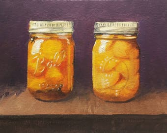 Oil Painting: Bottled Peaches