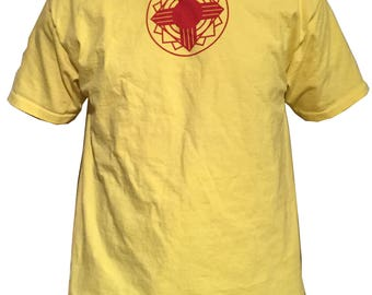 Custom Zia Design T-Shirt.  Hand printed silk screened Red on Yellow