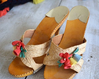 1950's - 1960's Mule Clog Open-toe Wooden Sandal Heels - Made in Italy