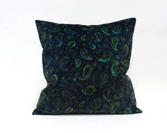 Velvet pillow case, paisley decor, throw pillow cover,  designer pillow, velvet cushion cover, vintage fabric, handmade by EllaOsix