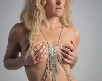 Body Jewelry: Silver Cascade Body Chain with Crystals