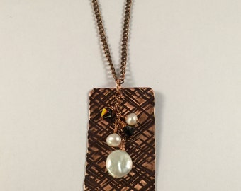 Copper, Hammered, Pearls, Crystals, Necklace
