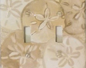 Sand Dollars Switchplate and Outlet Covers, Hand Painted Tropical Beach Seashell Light Switch Cover, seashell bathroom decor