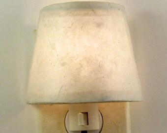 Natural Home Decor, Tibetan Paper Night Light Shade and Plug, Off White Minimalist Decor, Elegant Master Bedroom Lighting, Cream Sea Cottage