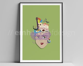 Venice, IT Poster / VCE Print / Travel Art / Venice Print / VCE Woman / Woman Series / Venice / Italy