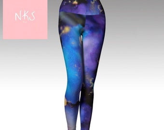 Comfortable stretch yoga leggings blue purple alcohol ink painting unique