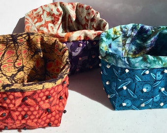 Handwoven Fabric Basket Kit using African Fair Trade Fabric and Beads - Size of Basket 7cm x 8cm x 8cm approx