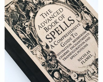 Harry Potter Inspired A5 Hardback Notebook. The Advanced Book of Spells by Nicolas Flamel. Magic Journal Blank Lined Paper Inside.