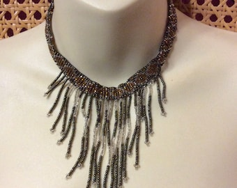 Vintage hand made beaded chatelaine drop dangle bib necklace