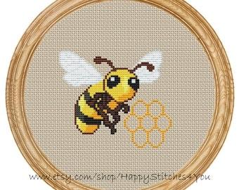 Cross Stitch Pattern PDF honey bee DD0065