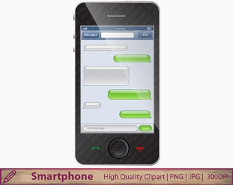 Smartphone texting clipart, smart phone sms clipart, text message, commercial use, digital instant download, jpg png 300dpi