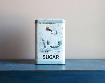 Dutch Sugar Tin Canister Delft Blue Kitchen Container