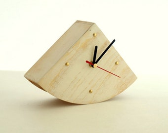 White Wooden clock, Desk Clock Gold points, Rustic style, Shabby chic, White table clock, Unique clock home decor, Mothers day gift