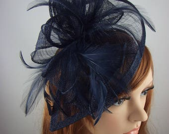 Navy Blue Teardrop Sinamay Fascinator with Feathers - Wedding Races Special Occasion Hat