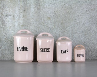 Antique French Canister/Storage Set, Pale Rose Pink, Ointement Pink,  St Amand, Ceramic Shabby Chic Art Deco