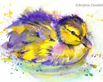 Duckling painting, Original watercolour painting, Nursery Decor, Easter gift, cute waterbird, watercolor painting, bird, chick painting