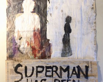Superman Contemporary Newspaper Acrylic Painting Street Art by Stephen Shellen