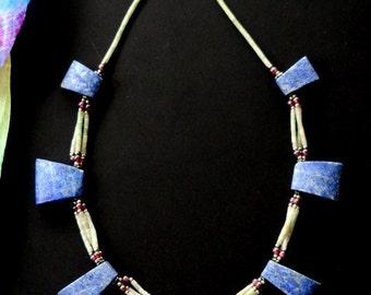 AFGHAN LAPIS NECKLACE - Vintage Lapis Lazuli Necklace