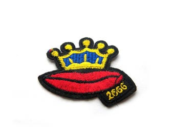 Embroidered Crown Lips Patch Appliqué