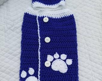 Little Wildcat University of Kentucky inspired baby swaddler cocoon wrap