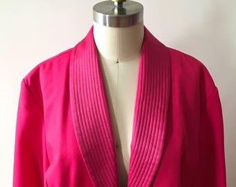 Vintage 80s hot pink duster jacket / medium/large