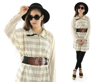 Vintage 80s Mini Dress Oversized Shirt Cowl Neck Top Long Sleeve Blouse Ivory Black Striped 1980s Medium M Large L