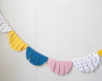 Party Garland / Wedding Garland / Fringe Garland / Yellow Teal Pink Bunting / Fringe Scallop garland