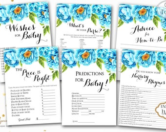 INSTANT DOWNLOAD- Blue Navy Floral Printable Baby Shower Games - Printable Shower Games - Boy Blue Floral Games - Baby Game Package - 0223