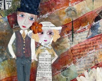 GATSBY'S DREAM, ACEO print, Mini Art Print, Collectible Art, Trading Card, Mixed Media Art, Americana, American Dream, Character Art, Whimsy
