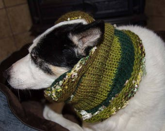 "Knit Winter Dog Scarf, Knit Dog Cowl Green   Size Medium Measures 15"" Circumference by 13"" Dress up your Pooch in Style"