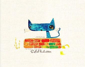 "Blue Cat Fabric Hand Printed Outlook Cat Fabric Cotton Linen Fabric Bag Case Fabric One Panel 8""X8"" (20cm X 20cm) h78E"
