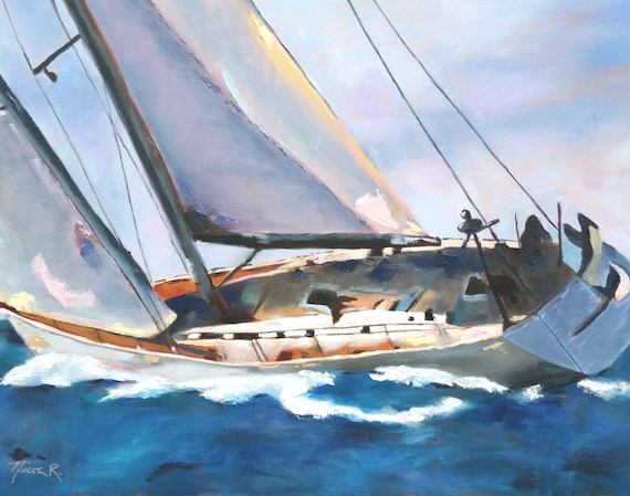 Yacht, sailing, nautical art, sailboat, print from oil painting, boat decor, sea life, mens holiday gifts, gifts for dad, nautical, boat sea