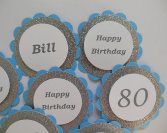 Personalized 80th Birthday Cupcake Toppers - Glittery Silver, Blue and White - Adult Birthday Decorations - Set of 12