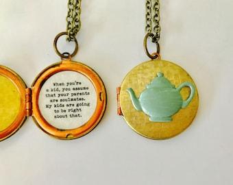 Pam Halpert Locket, Pam's teapot necklace, when you're a kid you assume your parents are soulmates, pam halpert quote