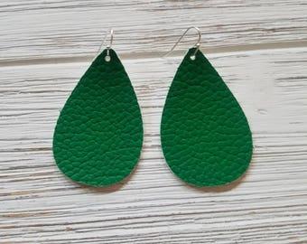 Leather Earrings - Green Leather Teardrop Earrings Tear Drop St Patrick's Day - Bright Green faux leather Teardrop Lightweight Earrings
