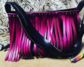 Handmade Two Tone Magenta and Black Fringed Leather Shoulder Bag