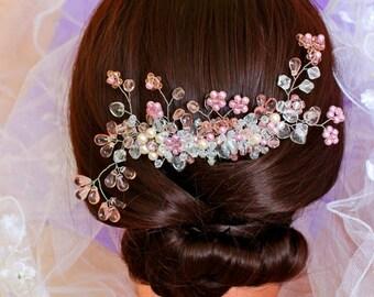 Wedding Accessories Handmade Jewelry Bridal Decoration Headpiece hair pink comb crest flower