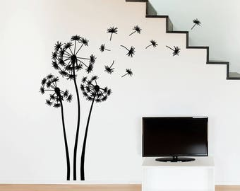 "Three Dandelions ""The Alyssa"" Vinyl Wall Decal with nine seeds blowing in the wind K697"
