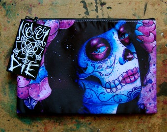 Cosmetic Bag Case | Could it Really Be? by Carissa Rose | Pretty Lowbrow Punk Rock Goth Sugar Skull Tattoo Flash Girl Pencil Pouch