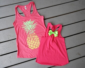 Women's Pineapple Tank top; Girls Trendy Summer shirt; Mommy and Me Tank top; Girl's pineapple shirt; Mother and daughter shirt set