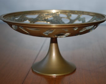 Vintage Brass Pedestal Bowl - Cutwork and Embossed Cranes - Korea - Midcentury - Asian - Chinoiserie - Happiness